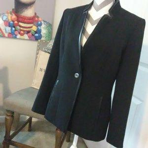 Preston  & York Black Leather Accent Blazer